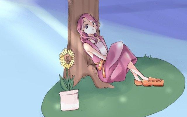 木陰で夏の日差しを避ける女性と植物