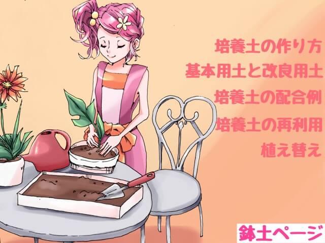 鉢土の作り方を説明する女性