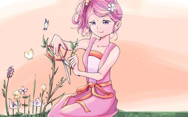 花の切り戻しをする女性